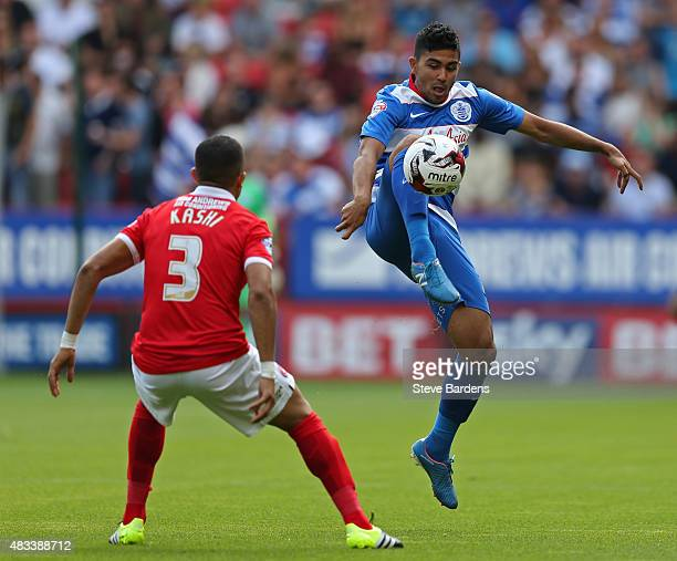 Massimo Luongo of Queens Park Rangers takes on Ahmed Kashi of Charlton Athletic during the Sky Bet Championship match between Charlton Athletic v...
