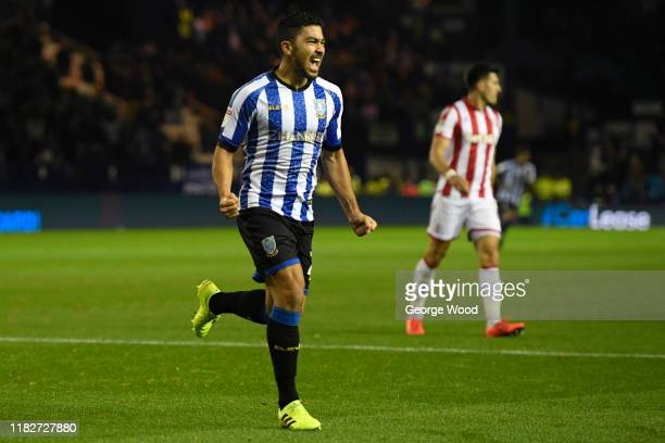 Massimo Luongo of Sheffield Wednesday celebrates after scoring his sides first goal during the Sky Bet Championship match between Sheffield Wednesday...