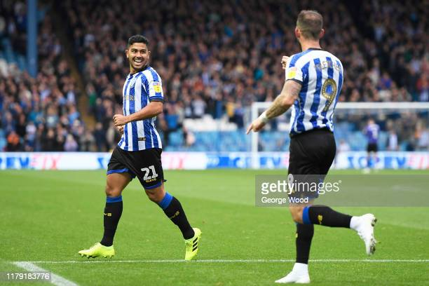 Massimo Luongo of Sheffield Wednesday celebrates with his team mates after scoring his team's first goal of the match during the Sky Bet Championship...