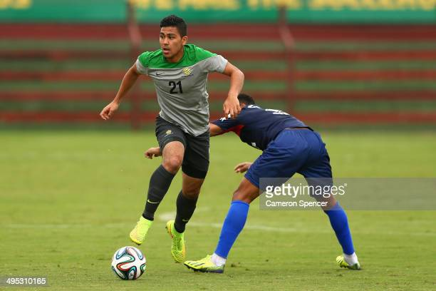 Massimo Luongo of the Socceroos controls the ball during a training match between the Australian Socceroos and Parana Clube at Arena Unimed Sicoob on...