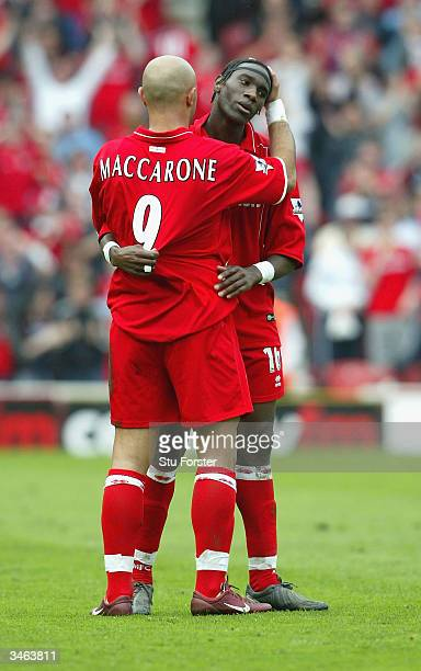 Massimo Maccarone celebrates with Joseph Desire Job after Job put Boro into the lead during the FA Barclaycard Premiership match between...
