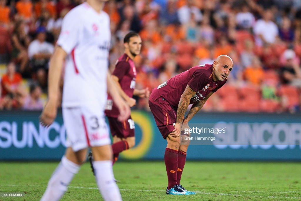 Massimo Maccarone of Brisbane reacts after a shot at goal during the round 14 A-League match between the Brisbane Roar and the Western Sydney Wanderers at Suncorp Stadium on January 5, 2018 in Brisbane, Australia.