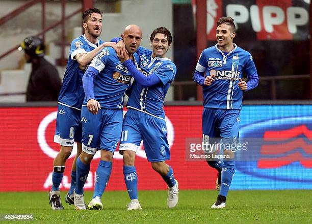 Massimo Maccarone of Empoli celebrates after scoring the equalizing goal during the Serie A match between AC Milan and Empoli FC at Stadio Giuseppe...