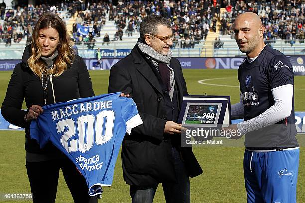 Massimo Maccarone of Empoli FC awarded for the 200 games played with the jersey Empoli FC during the Serie A match between Empoli FC and AC Chievo...