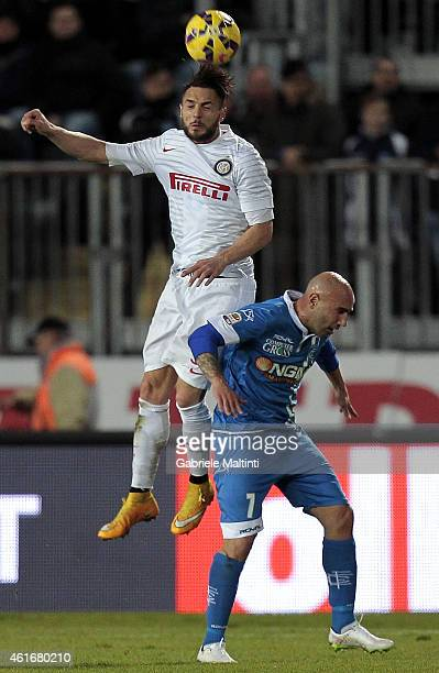 Massimo Maccarone of Empoli FC battles for the ball with Danilo D'Ambrosio of FC Internazionale during the Serie A match between Empoli FC and FC...