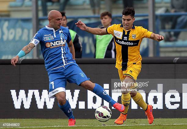 Massimo Maccarone of Empoli FC battles for the ball with Jose' Mauri of Parma FC during the Serie A match between Empoli FC and Parma FC at Stadio...