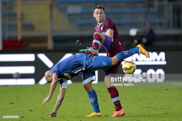 Massimo Maccarone of Empoli FC battles for the ball with Stefan De Vrij of SS Lazio during the Serie A match between Empoli FC and SS Lazio at Stadio...