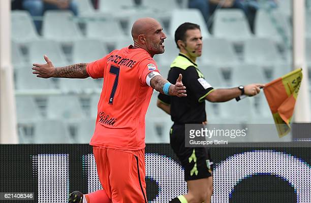 Massimo Maccarone of Empoli FC celebrates after scores the goal 03 during the Serie A match between Pescara Calcio and Empoli FC at Adriatico Stadium...