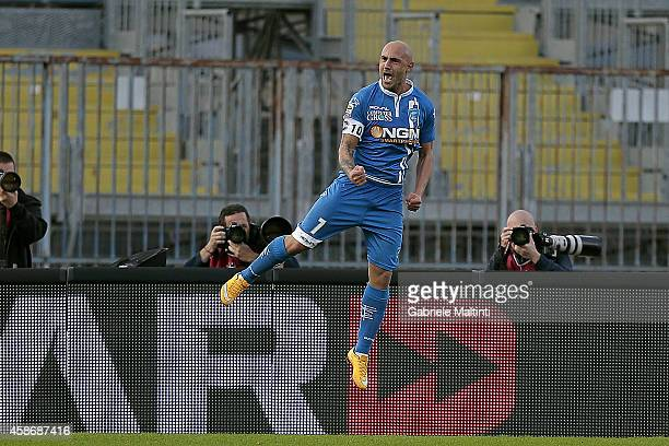 Massimo Maccarone of Empoli FC celebrates after scoring a goal during the Serie A match between Empoli FC and SS Lazio at Stadio Carlo Castellani on...