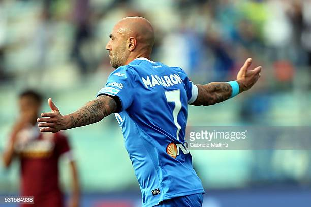 Massimo Maccarone of Empoli FC celebrates after scoring a goal during the Serie A match between Empoli FC and Torino FC at Stadio Carlo Castellani on...