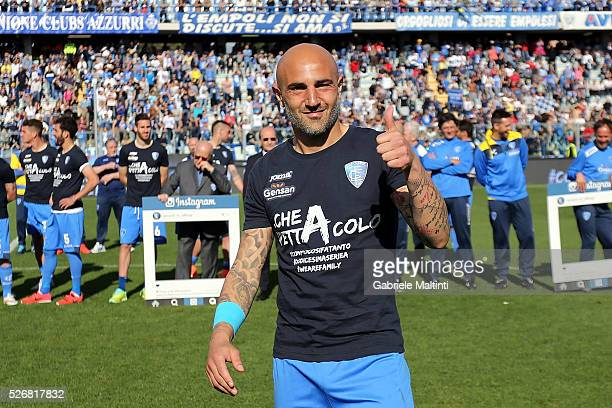 Massimo Maccarone of Empoli FC celebrates the victory the Serie A match between Empoli FC and Bologna FC at Stadio Carlo Castellani on May 1 2016 in...