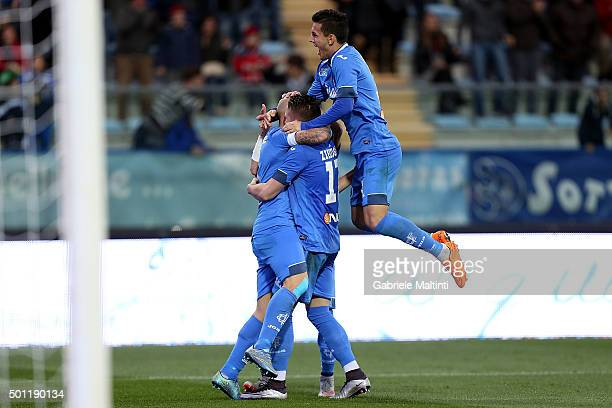 Massimo Maccarone of Empoli FC celebrates with teammates after scoring a goal during the Serie A match betweeen Empoli FC and Carpi FC at Stadio...