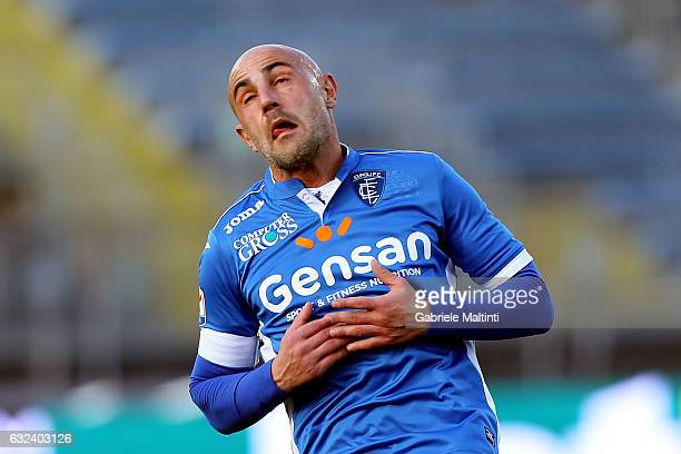 Massimo Maccarone of Empoli FC reacts during the Serie A match between Empoli FC and Udinese Calcio at Stadio Carlo Castellani on January 22 2017 in...