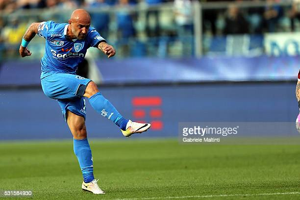 Massimo Maccarone of Empoli FC scores the opening goal during the Serie A match between Empoli FC and Torino FC at Stadio Carlo Castellani on May 15...