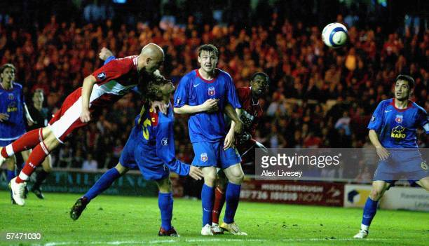 Massimo Maccarone of Middlesborough scores the winning goal during the UEFA Cup Semi Final, second leg match between Middlesbrough and Steaua...