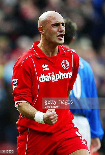 Massimo Maccarone of Middlesbrough celebrates his goal during the FA Barclaycard Premiership match between Middlesbrough and Birmingham City at The...