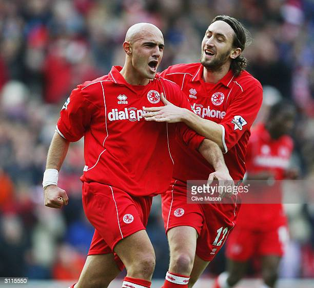 Massimo Maccarone of Middlesbrough celebrates his goal with team mate Jonathan Greening during the FA Barclaycard Premiership match between...