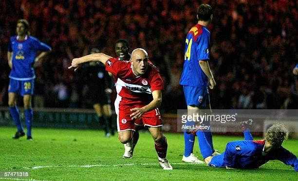 Massimo Maccarone of Middlesbrough celebrates scoring the winning goal during the UEFA Cup Semi Final, second leg match between Middlesbrough and...