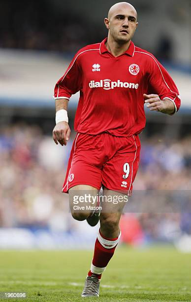 Massimo Maccarone of Middlesbrough in action during the FA Barclaycard Premiership match between Birmingham City and Middlesbrough held on April 26...