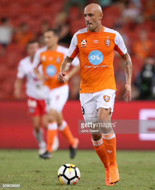 Massimo Maccarone of the Brisbane Roar controls the ball during the round 22 ALeague match between the Brisbane Roar and Adelaide United at Suncorp...