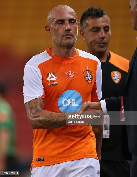Massimo Maccarone of the Brisbane Roar is substituted during the round 22 ALeague match between the Brisbane Roar and Adelaide United at Suncorp...