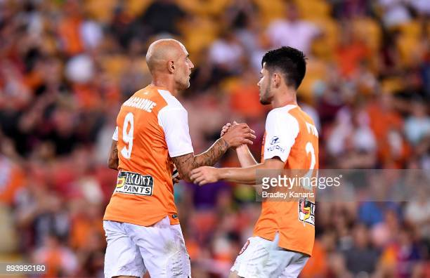 Massimo Maccarone of the Roar celebrates scoring a goal during the round 11 ALeague match between the Brisbane Roar and the Melbourne Victory at...