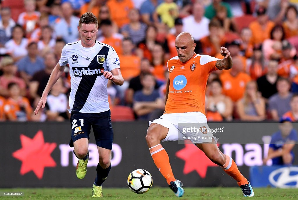 Massimo Maccarone of the Roar in action during the round 25 A-League match between the Brisbane Roar and the Central Coast Mariners at Suncorp Stadium on March 31, 2018 in Brisbane, Australia.