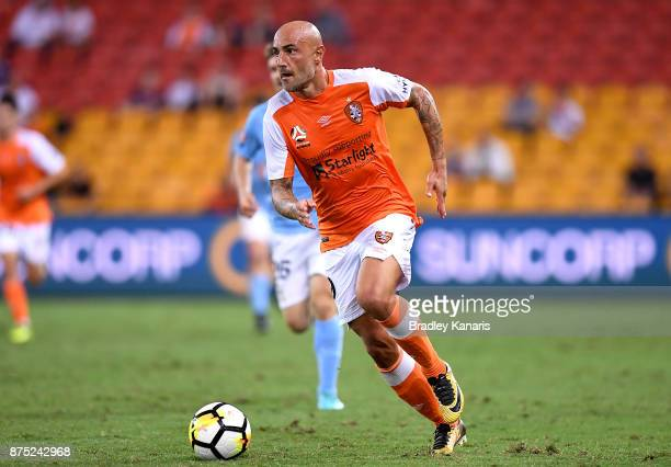 Massimo Maccarone of the Roar in action during the round seven ALeague match between Brisbane Roar and Melbourne City at Suncorp Stadium on November...