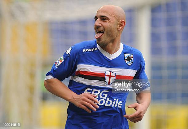 Massimo Maccarone of UC Sampdoria celebrates after scoring the second goal during the Serie A match between UC Sampdoria and Bologna FC at Stadio...