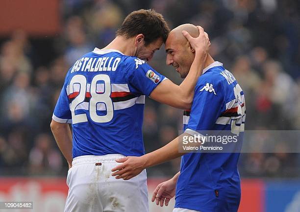 Massimo Maccarone of UC Sampdoria celebrates scoring the third goal with Daniele Gastaldello during the Serie A match between UC Sampdoria and...