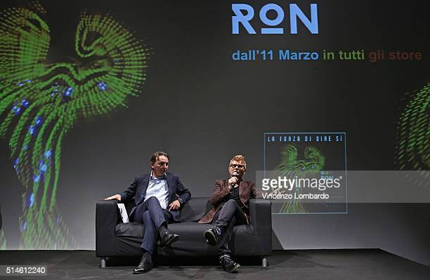 Massimo Mauro and Ron present 'La Forza Di Dire Si' on March 10 2016 in Milan Italy