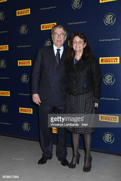 Massimo Moratti and his wife attend the 110th FC Internazionale Anniversary Ceremony Award at Hangar Pirelli on March 9 2018 in Milan Italy