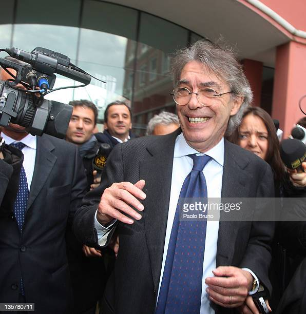 Massimo Moratti President of Internazionale Milan reacts after a Tavolo Della Pace Meeting on December 14 2011 in Rome Italy