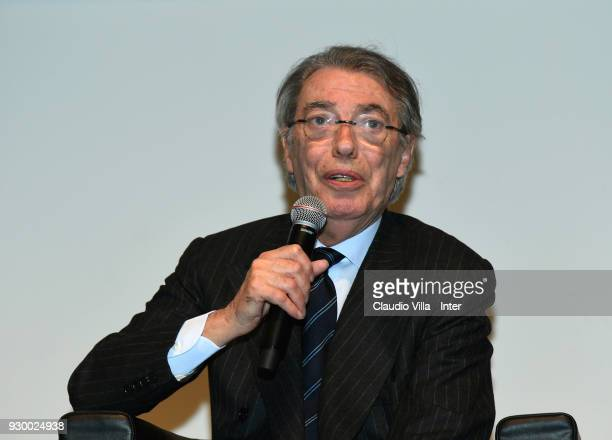 Massimo Moratti speaks during the presentation of the book celebrating FC Internazionale's 110th anniversary 'INTER 110' on March 10 2018 in Milan...