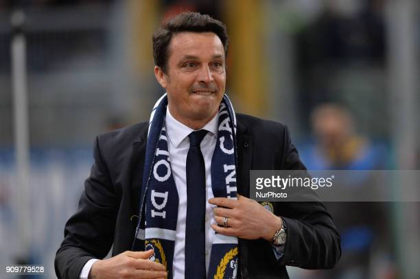 Massimo Oddo greets the fans of the Curva Nord during the Italian Serie A football match between SS Lazio and Udinese at the Olympic Stadium in Rome...