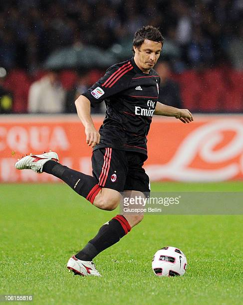 Massimo Oddo of AC Milan in action during the Serie A match between SSC Napoli and AC Milan at Stadio San Paolo on October 25 2010 in Naples Italy