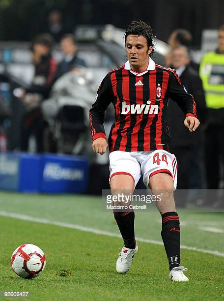 Massimo Oddo of AC Milan in action during the Serie A match between AC Milan and Parma FC at Stadio Giuseppe Meazza on October 31 2009 in Milan Italy