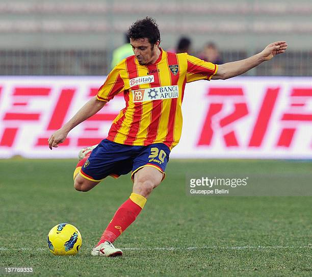 Massimo Oddo of Lecce in action during the Serie A match between US Lecce and AC Chievo Verona at Stadio Via del Mare on January 22 2012 in Lecce...