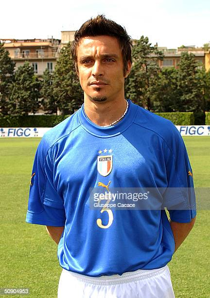 Massimo Oddo of the Italian footlball team poses for photographer on May 27, 2004 at Coverciano sports ground in Florence, Italy. The Italian team...