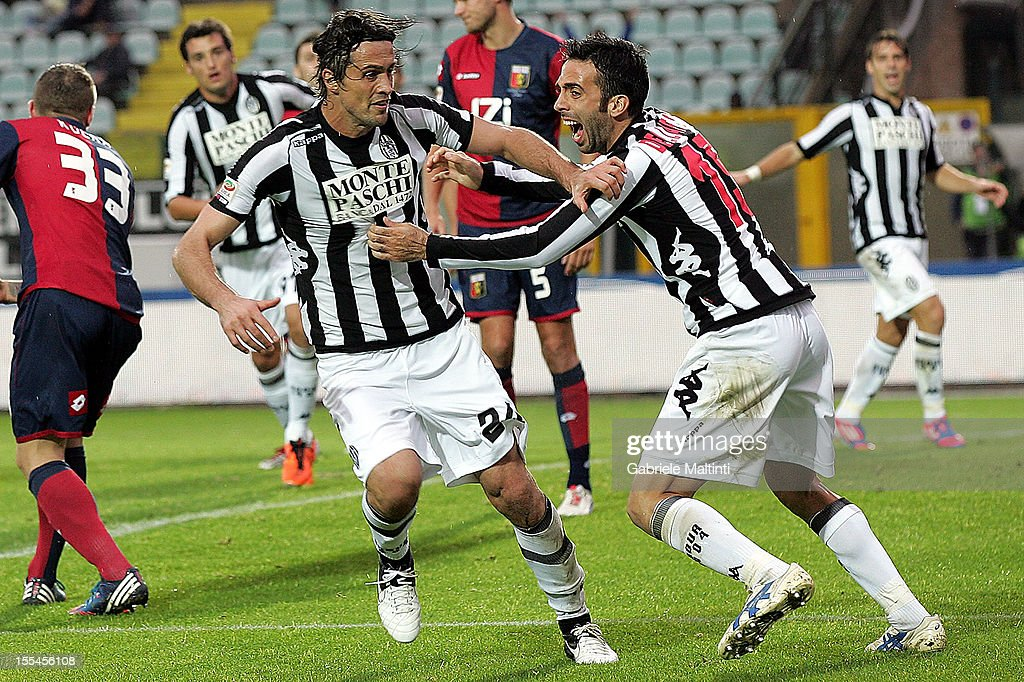 Massimo Paci (#24) of AC Siena celebrates after scoring a goal during the Serie A match between AC Siena and Genoa CFC at Stadio Artemio Franchi on November 4, 2012 in Siena, Italy.