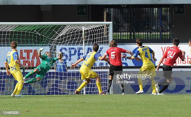 Massimo Paci of Novara scores his team's second goal during the Serie A match between AC Chievo Verona and Novara Calcio at Stadio Marc'Antonio...