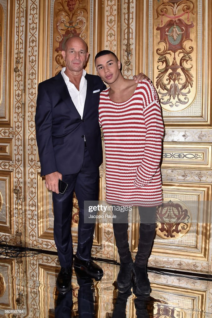 Massimo Piombini and Olivier Rousteing attend the Balmain Menswear Spring/Summer 2019 show as part of Paris Fashion Week on June 24, 2018 in Paris, France.