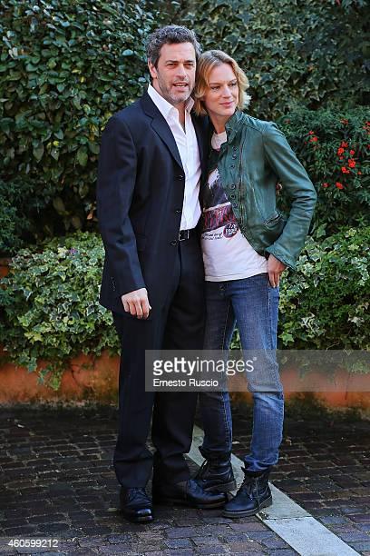 Massimo Poggio and Antonia Liskova attend the 'Solo Per Amore' TV movie photocall at Mediaset Studios on December 17 2014 in Rome Italy