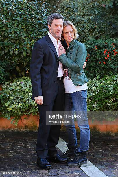 Massimo Poggio and Antonia Liskova attend the 'Solo Per Amore' TV movie photocall at Mediaset Studios on December 17 2014 in Rome Italy