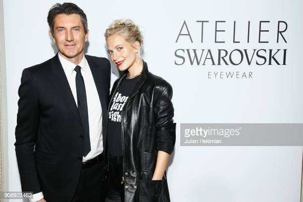 Massimo Renon and Poppy Delevingne attend the Atelier Swarovski Eyewear Dinner as part of Paris Fashion Week at Hotel Crillon on January 22 2018 in...