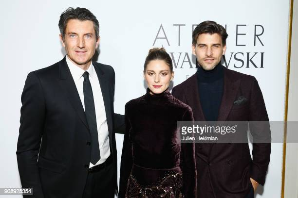 Massimo Renon Olivia Palermo and Johannes Huebl attend the Swarovski Eyewear Diner as part of Paris Fashion Week at Hotel Crillon on January 22 2018...