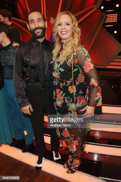 Massimo Sinato and Isabel Edvardsson smile during the 5th show of the 11th season of the television competition 'Let's Dance' on April 20, 2018 in...