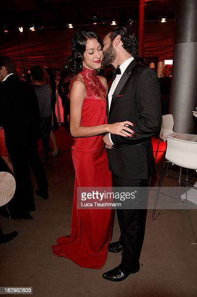 Massimo Sinato and Rebecca Mir attend the Deutscher Fernsehpreis 2013 after party at the Coloneum on on October 2 2013 in Cologne Germany