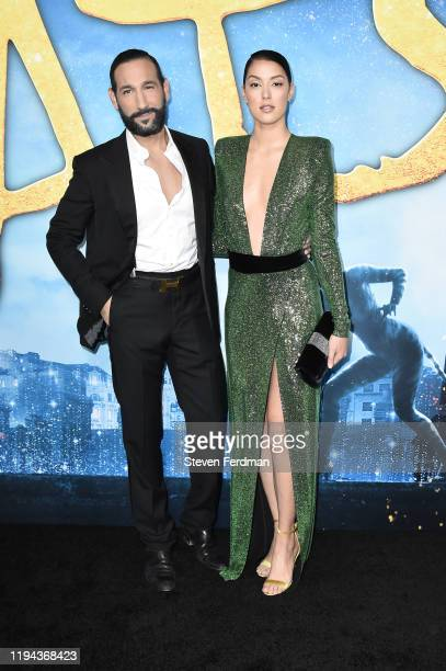 """Massimo Sinato and Rebecca Mir attend the world premiere of """"Cats"""" at Alice Tully Hall, Lincoln Center on December 16, 2019 in New York City."""