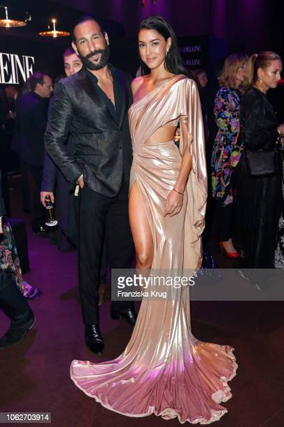 Massimo Sinato and Rebecca Mir pose at the 70th Bambi Awards party at Atrium Tower on November 16 2018 in Berlin Germany